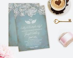 Angel Wings Invitation  Baptism Invitations Baby by VGInvites #Angel #Wings #Invite