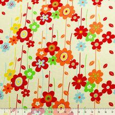 Retro Daisy Garden on Yellow Cotton Jersey Blend Knit Fabric