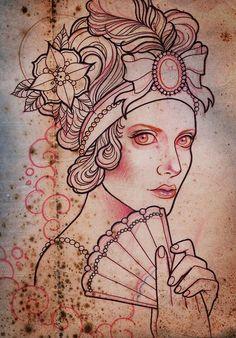 Myra brodsky - tattoo & illustration vintage tattoo design э Flash Art Tattoos, Tattoo Sketches, Tattoo Drawings, Art Drawings, Snow White Tattoos, Dessin Old School, Vintage Tattoo Design, Tattoo Apprenticeship, Adventure Tattoo