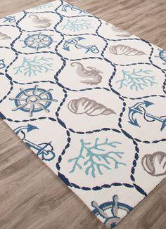 "5x8 (5' x 7'6"") Designer Nautical Tropical Coastal Seahorse Seashell Area Rug #RugIsland #Nautical"