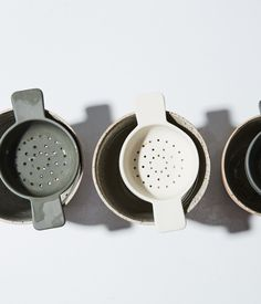 Tea Strainer - matte, unglazed surface pigmented earthenware fits well on many cups slipcast & finished by sue pryke Ceramic Spoons, Ceramic Tableware, Ceramic Clay, Porcelain Ceramics, Ceramic Pottery, Fine Porcelain, Porcelain Tiles, Slab Pottery, Pottery Mugs