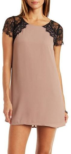 Buy Day Dresses Lace & Chiffon Shift Dress made by from Charlotte Russe only $29.99 at shop.outfitsforlady.com