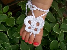 Butterfly barefoot baby sandals crochet pattern for by LadybugLB2, $3.99