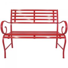 Relax in the sweltering summers with the lovely red metal bench. Crafted with utmost precision, this beautiful bench enhances the overall appearance of your outdoor space. Featuring delicate artistic curves, this bench is sure to keep you mesmerized Porch Bench, Chair Bench, Outdoor Chairs, Outdoor Furniture, Outdoor Decor, Deck Decorating, Backyard, Patio, Beach Chairs