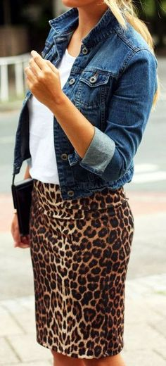Adorable Leopard paired with a short denim jacket.  A fun way to wear an exotic print and keep it casual.