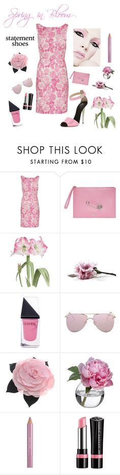 """Spring Heels"" by kotnourka ❤ liked on Polyvore featuring Giuseppe Zanotti, Gina Bacconi, Versus, GUiSHEM, Le Specs, Chanel, Diane James, Estée Lauder and Rimmel"