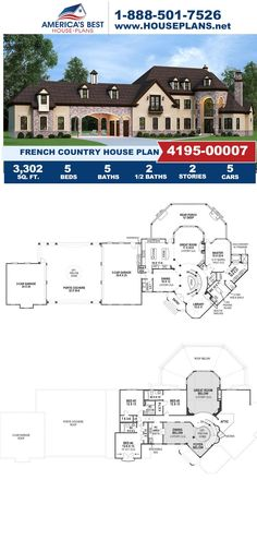 Get to know this French Country design that offers 3,302 sq. ft., 5 bedrooms, 5 bathrooms, 2 half bathrooms, a library, a porte cochere, an office layout and a theater room. Learn more about Plan 4195-00007 on our website. Half Bathrooms, Porte Cochere, French Country House Plans, Open Layout, French Countryside, Best House Plans, Build Your Dream Home, Minecraft Houses, Houses