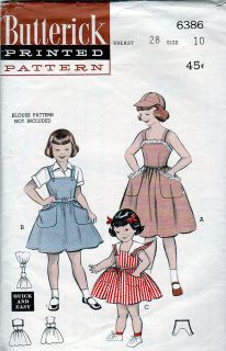 Butterick 6386; ca.1953; Girls' Dress or Jumper and Cap: She'll enjoy changing it from a dress to a jumper. (A) Frill-trimmed sundress with huge pockets has matching sun cap. (B) Tailored version with patch pockets as a jumper. (C) Changes to a dress; contrast button-on collar.  Trimmed/Complete.   FREE U.S. Shipping