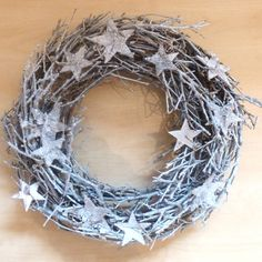 Frosted Twig And Star Wreath
