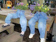 Canteiros Divertidos Feitos com Jeans Velhos