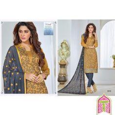 Unstitched Churidar mustard with Gray color Cotton Printed designer Salwar Kameez Dress Material