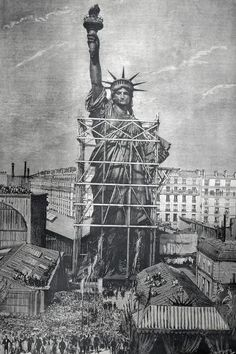 size: Photographic Print: Statue of Liberty Being Prepared for Shipment : Line Photography, Travel Photography, Statue Of Liberty Drawing, New York Statue, Vintage New York, Celebration Quotes, New York Travel, Wedding Art, Outdoor Travel