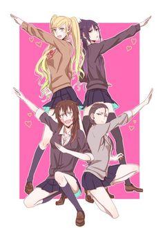 Genderbend Naruto, Sasuke, Kiba, and Shikamaru. Naruto Uzumaki, Anime Naruto, Naruto Girls, Naruto And Sasuke, Sasunaru, Naruto Fan Art, Naruto Funny, Shikamaru, Sakura And Sasuke