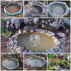 Do you want build a pond yourself? Probably there are many ways for choice. Here you will know how to use old tractor's tire make a fountain. You will need: Old tire Thick film Stones Pump