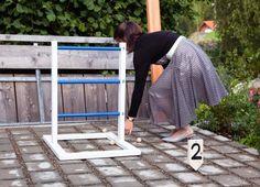 DIY outdoor wedding game // hochzeitsspiel // leitergolf