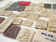 Does it work to carve a stamp then stamp into a piece of clay or primo for inverse? Clay Stamps, Polymer Clay Art, Polymer Clay Jewelry, Clay Clay, Clay Projects, Clay Crafts, Clay Texture, Stamp Carving, Handmade Stamps