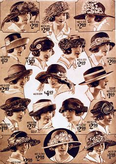 mens hats came in several common styles such as the fedora, trilby, straw hat, homburg and porkpie. Learn about and buy style vintage men's hats Vintage Outfits, Vintage Fashion, Moda Vintage, Retro Vintage, Vintage Style, Festival Biarritz, Look Gatsby, 1920s Hats, Flappers 1920s