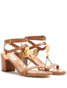 mytheresa.com -  Abyss embellished leather sandals - Mid-heel - Sandals - Shoes - Valentino - Luxury Fashion for Women / Designer clothing, shoes, bags #accessories #valentino #women #designer #covetme
