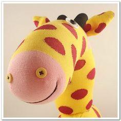 Handmade Sock Giraffe Stuffed Animal Doll Baby by supersockmonkeys, $19.99