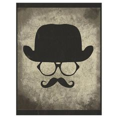 JP London PMUR2321 Moustache Hipster uStrip Peel and Stick Removable Wall Mural