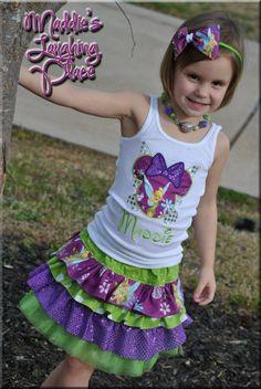 Outfit Applique Shirt Ruffle skirt Embroidered dress Tinkerbell Disney Princess Birthday Minnie Mickey Ruffles headband necklace. $22.99, via Etsy.