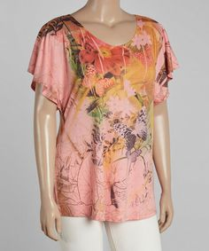 Love this Pink Floral Abstract Cape-Sleeve Top - Plus on #zulily! #zulilyfinds