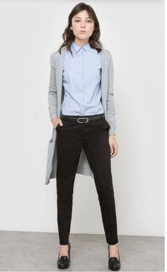 Light blue shirt+black pants+black pumps+grey cardigan. Spring Business Casual Outfit 2017