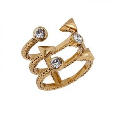 The GILDED LILY THREE BAND RING from Erickson Beamon Rocks is 24K antique gold plated, with crystal glass stones.  This open designed jewel is both glamorous and edgy. _________________________ https://www.zindigo.com/sharer.php/0/0/3729/11158