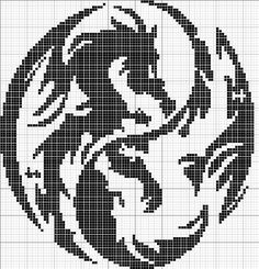 filet crochet - dragons in yin-yang arrangement of color and shape Crochet Dragon, Crochet Cross, Crochet Chart, Cross Stitch Charts, Cross Stitch Designs, Cross Stitch Patterns, Cross Stitching, Cross Stitch Embroidery, Embroidery Patterns