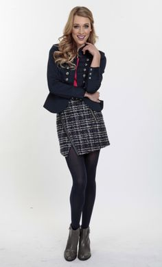 All under $100: INC International Concepts blazer, LC Lauren Conrad top, Simply Vera Wang boots, Zara skirt, DKNY tights