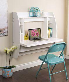 White Floating Storage Wall Desk