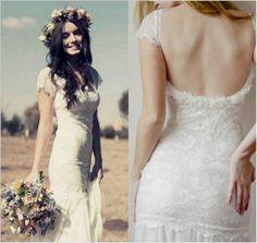 2015 Mermaid Lace Beach Wedding Dress Cap Sleeves Backless Bridal Gowns Cheap