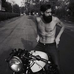 Luke Ditella on a motorcycle - full thick black beard and mustache beards bearded man men mens style hairy chest biker bikers motorcycles vintage tattooed #beardsforever