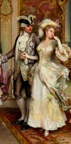 The dress the women is wearing is representation of the time period due to the fact supported skirts were much less wide and the skirt fullness started moved towards the back.By Artist Unknown. Romantic Paintings, Classic Paintings, Old Paintings, Beautiful Paintings, Victorian Paintings, Victorian Art, Rococo Painting, Victorian Bedroom, Illustrations Vintage