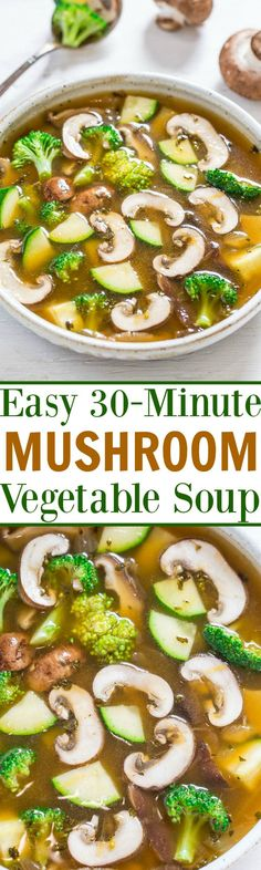 Easy 30-Minute Mushroom Vegetable Soup - Healthy, light yet satisfying, and full of rich savory flavor!! An Asian-inspired twist on vegetable soup that you'll LOVE!!