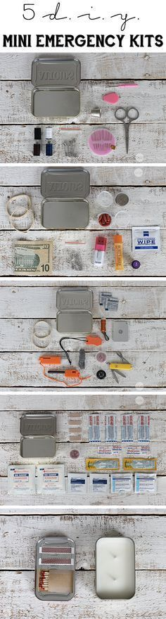 DIY Mini Emergency Kits For Any Disaster - Look for loads of great survival gear, tools, tips and guides to help you survive! - Look for loads of great survival gear, tools, tips and guides to help you survive! Camping Survival, Survival Prepping, Emergency Preparedness, Survival Gear, Survival Skills, Survival Equipment, Camping Hacks, Diy Camping, Travel Hacks