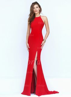Prom Dresses - $112.83 - Sheath/Column Scoop Neck Sweep Train Jersey Prom Dress With Split Front (0185091949)