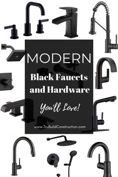 Black faucets and black hardware - a match made in heaven! A list of our favorite modern matte black kitchen and bathroom faucets and coordinating cabinet hardware to tie it all together. Bathroom Hardware, Bathroom Sink Faucets, Cabinet Hardware, Faucet Kitchen, Bathroom Fixtures, Gold Hardware, Layout Design, Commercial Faucets, Best Kitchen Design