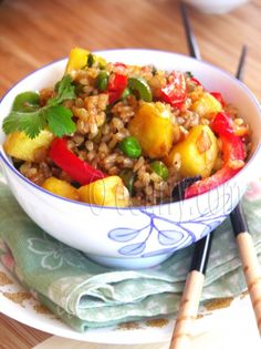"""Vegan Pineapple """"Fried"""" Brown Rice and Veggies (GF/CF/NF/YF/) Omit oil and 1 tsp soy."""