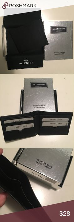 Valentini Leather Italian Wallet Never used. Valentini Collection Slim Wallet. Black leather from Italy. 2 bill slots and 8 card slots. Valentini Accessories Key & Card Holders