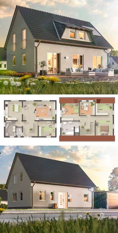 Sims House Plans, House Layout Plans, House Layouts, House Floor Plans, Modern Architecture Design, Architecture Portfolio, Home Garden Design, House Design, Town Country Haus