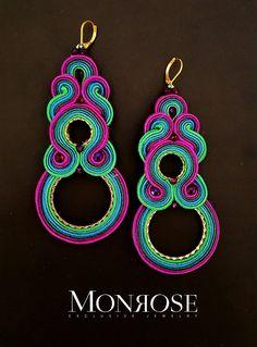 "Soutache earrings ""Na'vi"" by Monrose Soutache Jewelry, Shibori, Textile Art, Jewelry Art, Jewerly, Diy And Crafts, Crochet Earrings, Textiles, South Korea"