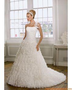 Robe asymétrique pas cher A-line 2012 ivoire plissé robe de mariée organza