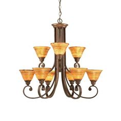 Filament Design Concord 9-Light Bronze Chandelier with Firre Saturn Glass Shade-CLI-TL5013088 - The Home Depot