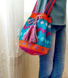 Crochet colorful bag ❤LCB-MRS❤ with diagrams. Tapestry Bag, Tapestry Crochet, My Bags, Purses And Bags, Crochet Purses, Knitted Bags, Handmade Clothes, Knitting Projects, Bucket Bag
