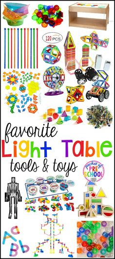 Huge list of LIGHT TABLE tools & toys for the classroom....preschool, pre-k, and kindergarten or for home. Explore math, literacy, and STEM at the light table with these tools!