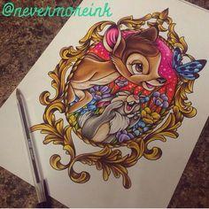 Bambi Thumper Frame Tattoo Disney Sleeve Tattoos, Disney Tattoos, Bild Tattoos, Body Art Tattoos, Amazing Drawings, Cute Drawings, Disney Fun, Walt Disney, Bambi Tattoo