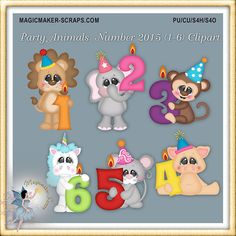 Birthday Party Animals Clipart Candle Number от MagicmakerScraps