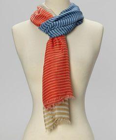 Loving this Blue & Red Stripe Scarf on #zulily! #zulilyfinds
