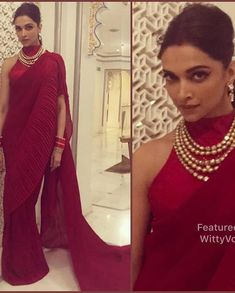 Deepika Padukone in a Red Saree by Faabiiana Deepika In Saree, Deepika Padukone Saree, Red Saree, Sari, Saree Jacket Designs, Blouse Neck Designs, Blouse Desings, Saree Jackets, Drape Sarees